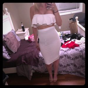 Dresses & Skirts - White strapless bandeau with white skirt